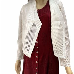 NEW White Perforated Jacket Angled Overlay Medium